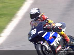 Katja Poensgen riding the Suzuki GSV-R
