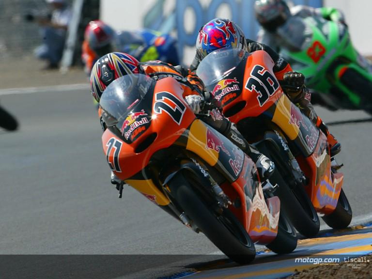 Stoner & Kallio action Le Mans 2004