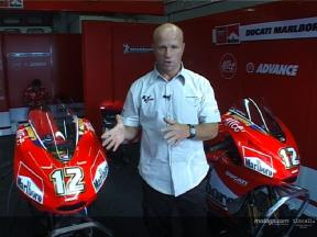 Behind the garage door at Ducati with Randy Mamola