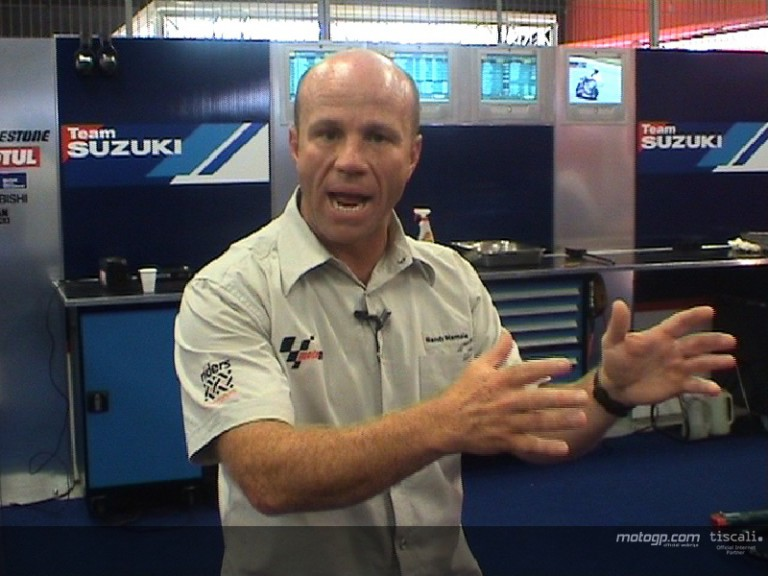 Behind the garage door at Suzuki with Randy Mamola