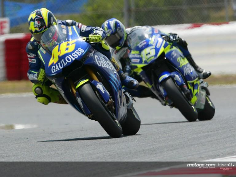 Rossi & Gibernau action Catalunya 2004