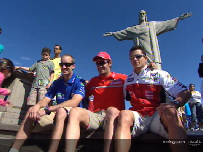 Checa, Edwards and De Puniet at the Corcovado statue
