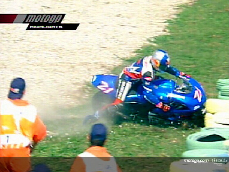 John Hopkins crash during the race