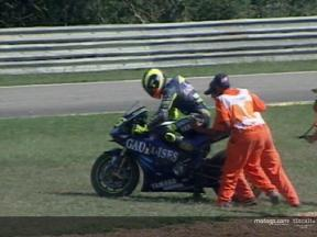 Rossi returns to earth with a bang