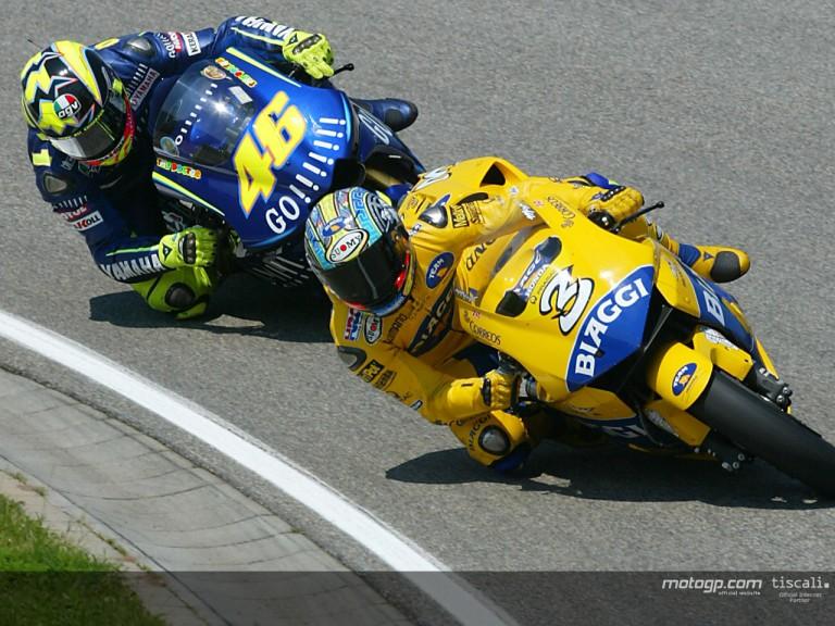 Biaggi & Rossi action Sachsenring 2004