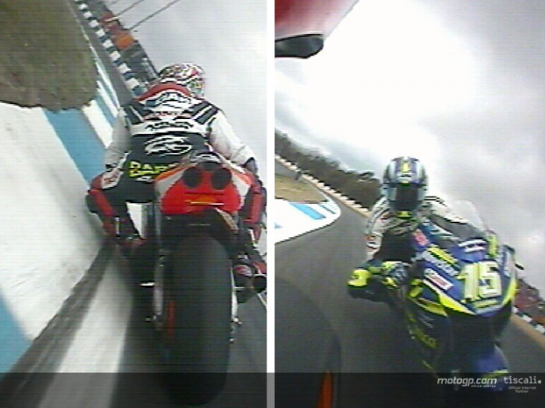 Alex Barros and Sete Gibernau last lap at Esoril