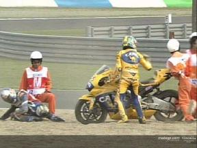 Multiple crash in MotoGP, from various angles