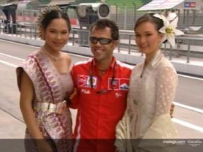 MotoGP riders pose with local dancers