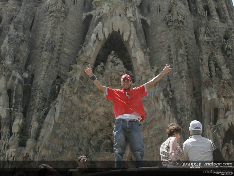 MotoGP riders visit the Sagrada Familia temple in Barcelona