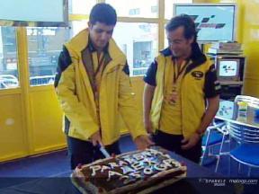 Alex Barros festeggia il GP n. 250