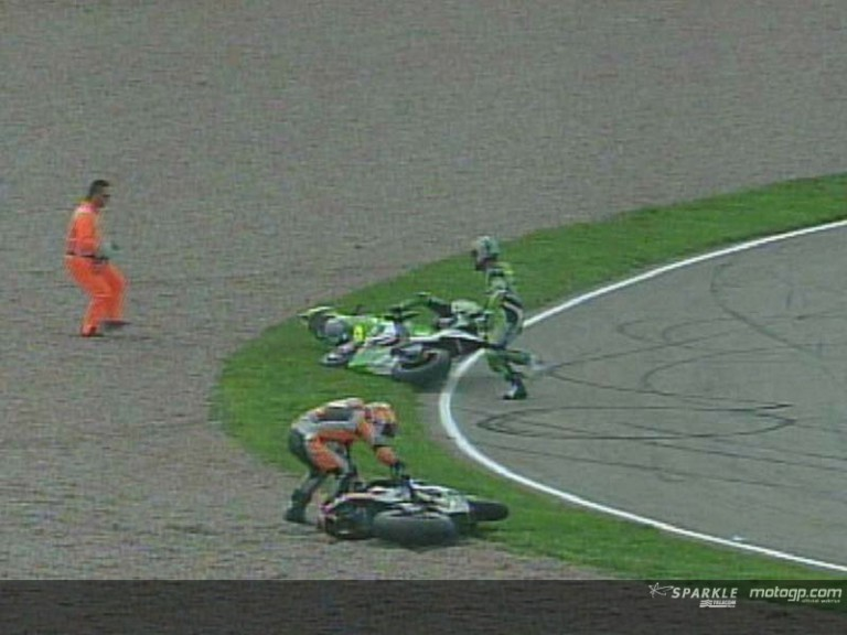 Multiple crash in the MotoGP race