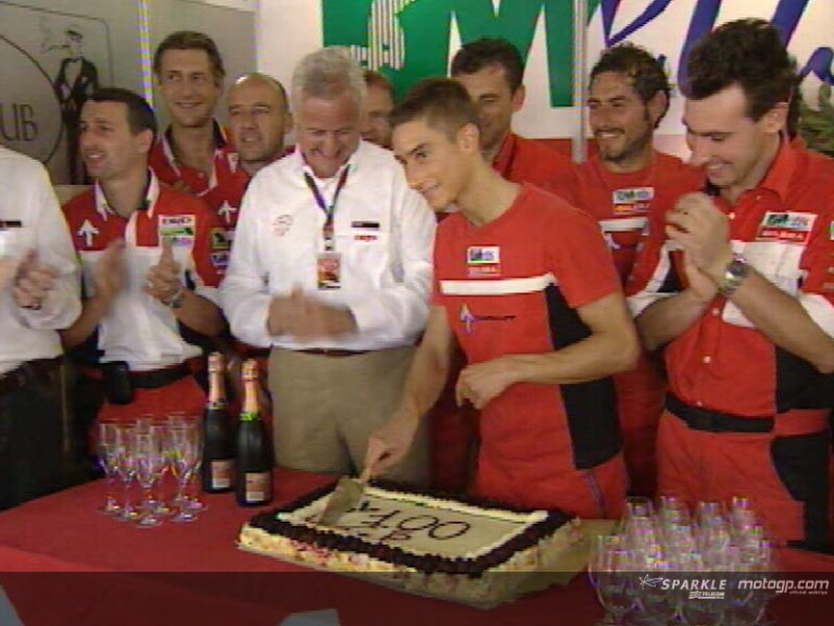 Poggiali celebrates his 100th GP appearance
