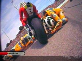 Valentino Rossi crash during race