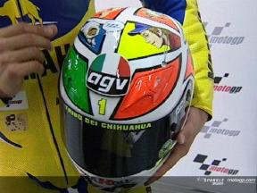 Rossi with new helmet for Mugello