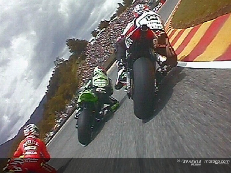 On board Capirossi on his first laps in Mugello