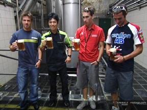 MotoGP riders visit a Czech brewery