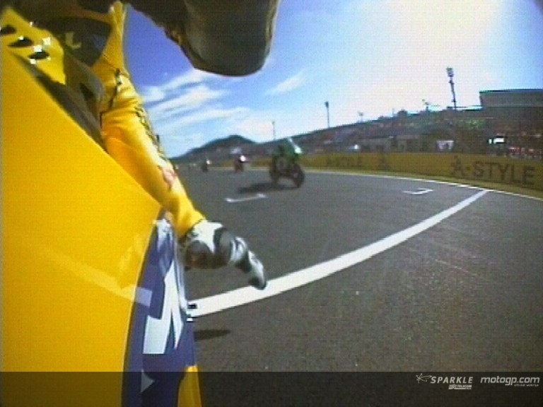 On board with Rossi on his first laps in Motegi