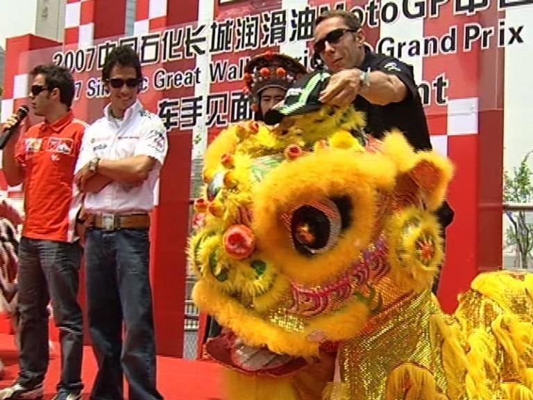 MotoGP riders visit Shanghai landmark