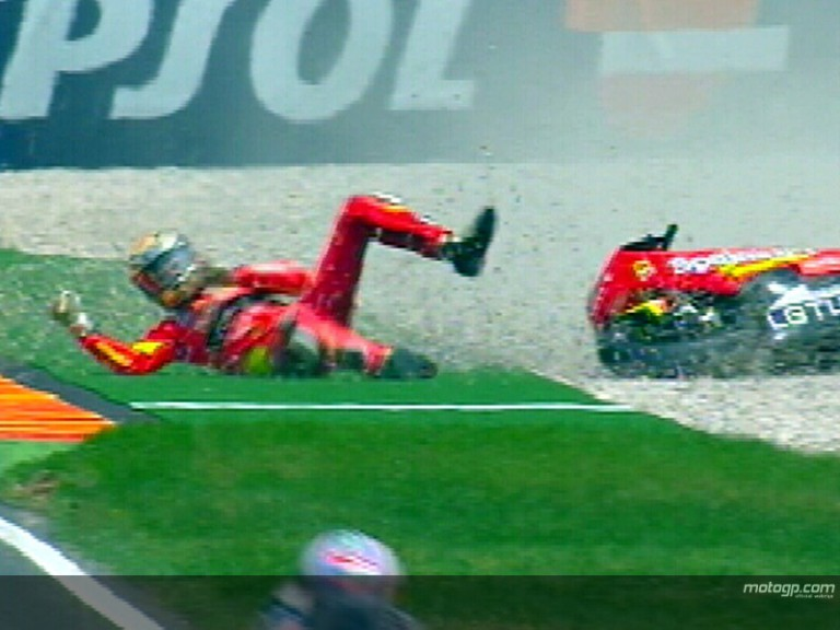 Jorge LORENZO crash during race