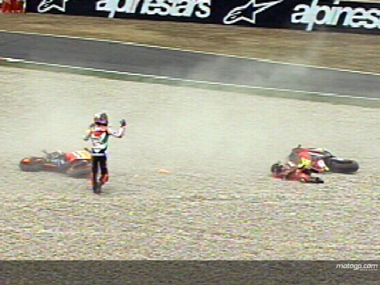 Capirossi & Melandri - 2006 Catalunya crash