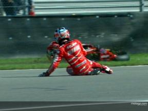Casey STONER crash during WUP
