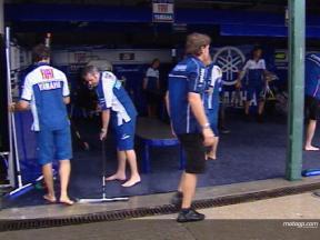 MotoGP pit-boxes flooded