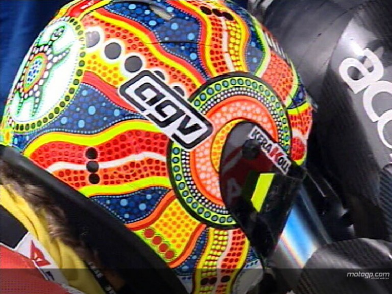 Rossi and Stoner show off new helmets