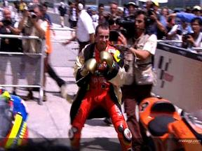 Lorenzo celebrates Rocky-style