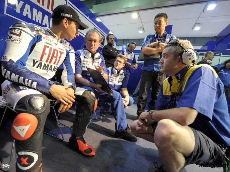Lorenzo in the Fiat Yamaha box at Losail