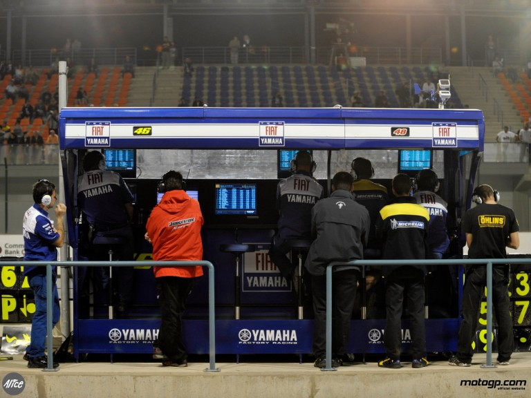 Yamaha staff on the pitwall in Qatar