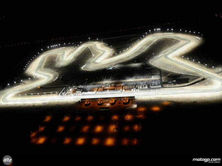 Aerial view of the Losail circuit at night