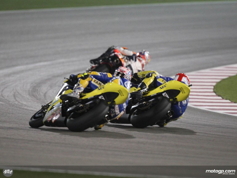 Edwards and Toseland in the front group at Losail