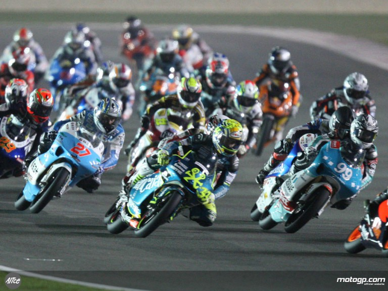 Sergio Gadea in the 125cc pack at the Qatar GP