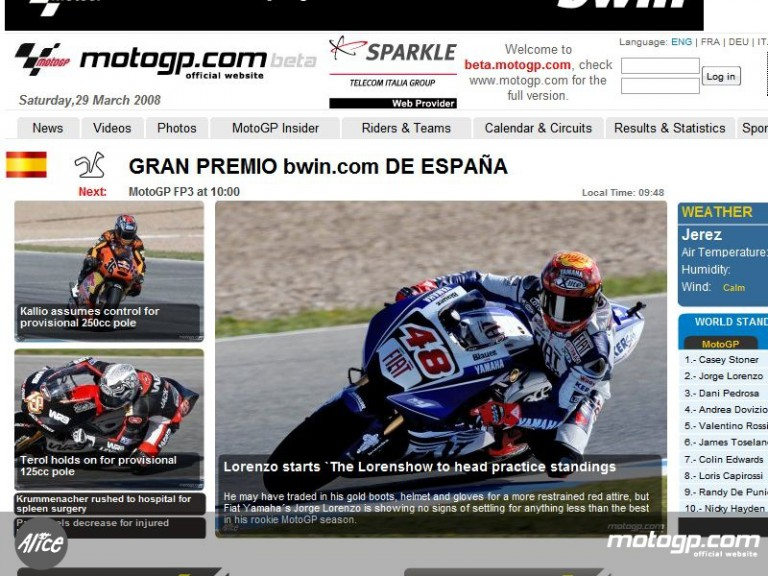 A first glance at the new version of motogp.com