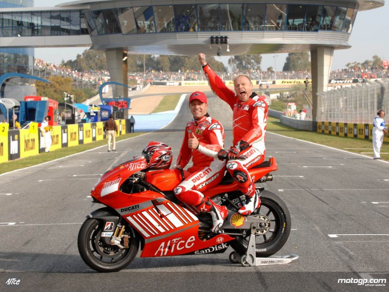 Prodigy singer Keith Flint with Randy Mamola on the MotoGP X2