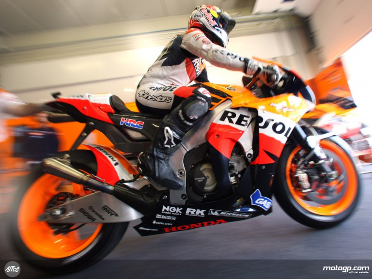 Dani Pedrosa exiting his garage