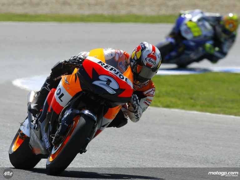 Dani Pedrosa leading the race at Jerez