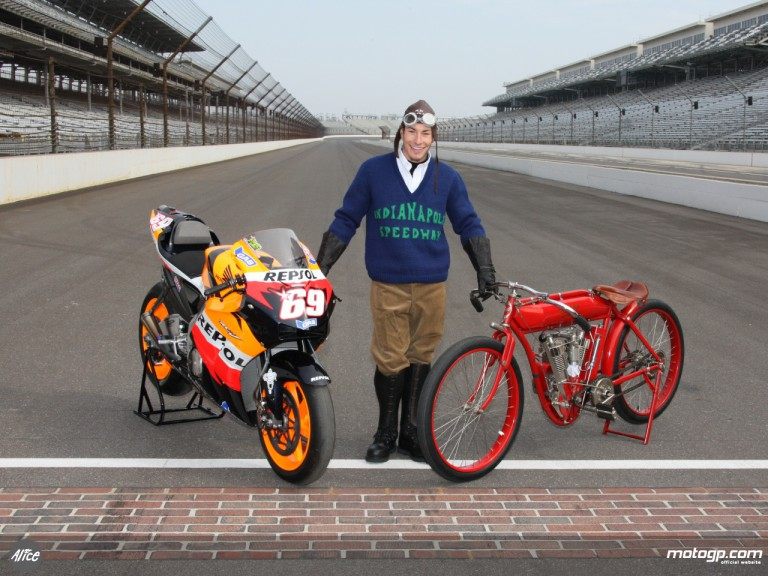 Hayden in vintage gear at Indianapolis