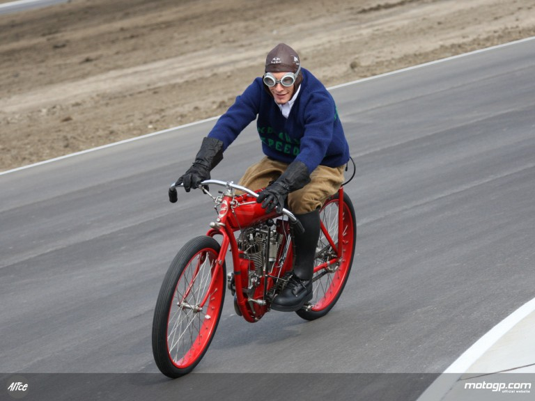 Nicky Hayden rides a 1909 Indian at Indianapolis