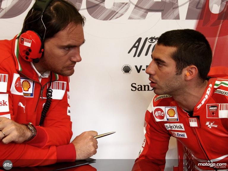 Marco Melandri in the Ducati Marlboro Team Garage