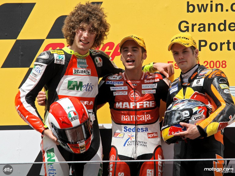 Bautista, Simoncelli and Kallio on the podium at Estoril (250cc)