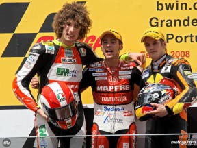Bautista, Simoncelli and Kallio on the podium at Estoril (250cc)