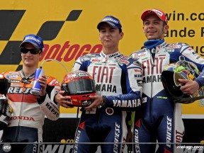 Lorenzo, Pedrosa and Rossi on the Podium at Estoril (MotoGP)