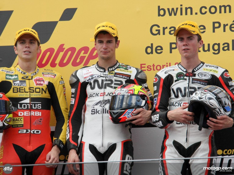 Corsi, Olive and Terol on the podium at Estoril (125cc)