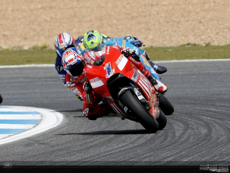 Casey Stoner in action in Estoril (MotoGP)