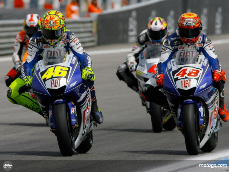 Valentino Rossi and Jorge Lorenzo leading the Portuguese GP