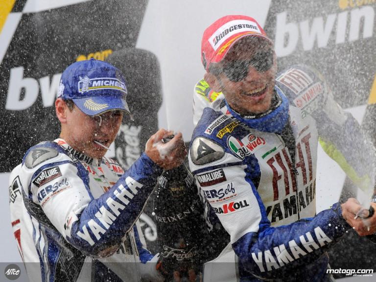 Jorge Lorenzo and Valentino Rossi on the podium at Estoril