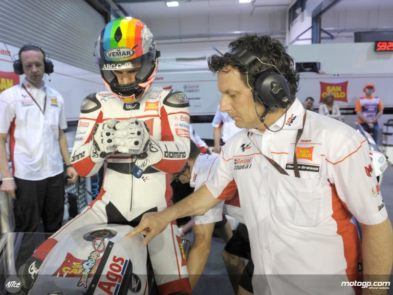 Alex de Angelis and team manager Fausto Gresini