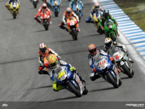 Valentino Rossi and Jorge Lorenzo leading the pack at Estoril