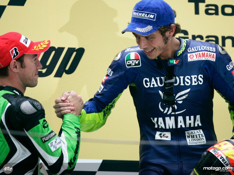 Valentino Rossi and Olivier Jacque on the podium in 2005